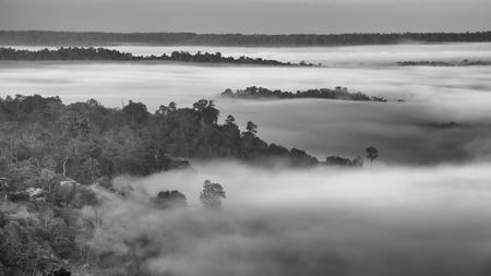 over the hill: Vista a�rea de la niebla sobre la colina del norte de Tailandia Foto de archivo