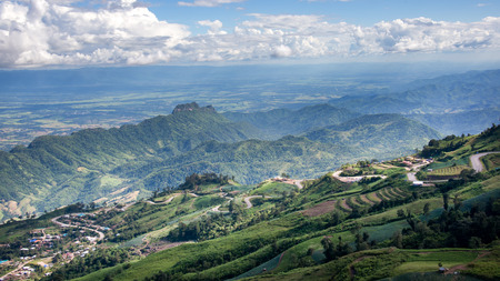 over hill: Aerial view over hill of north Thailand Stock Photo