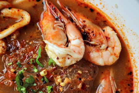 goong: Spicy Tom Yum Goong noodle soup Stock Photo