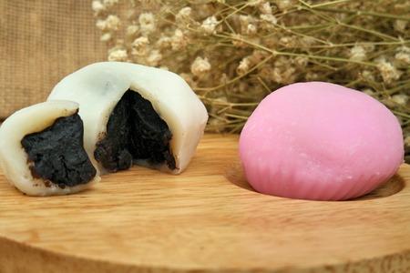 japanese dessert: colorful Japanese dessert called mochi