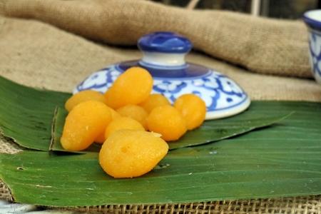 gold egg: Gold egg yolks drops ,ancient Thai Dessert