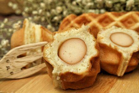 waffle: Waffle hotdog on wooden  plates
