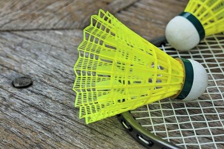 nylon: badminton nylon shuttlecock on the wooden floor Stock Photo