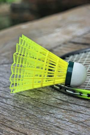 nylon string: badminton nylon shuttlecock on the wooden floor Stock Photo