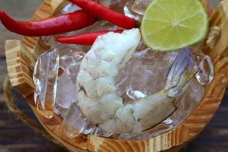 casks: Peeled shrimp Stock Photo