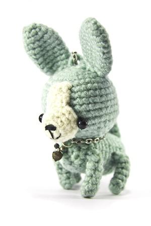 グリーン チワワ犬編み物人形