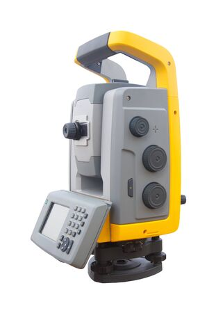 The total station ,  The geodetic and topography measuring tool  isolated on white Stock Photo - 19873201