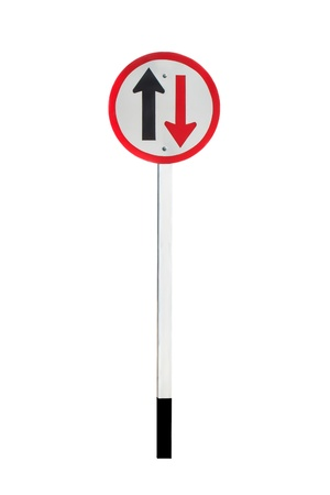 Two way traffic sign isolated on white background photo