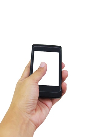 Hand holding smart phone with blank screen on white background photo