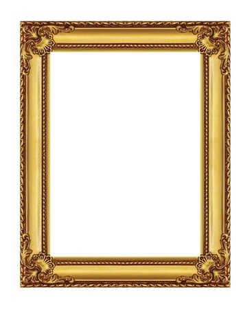 golden  frame isolated on white background, with clipping path photo