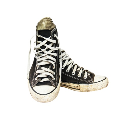 black sneakers isolated on a white background Stock Photo - 22828022