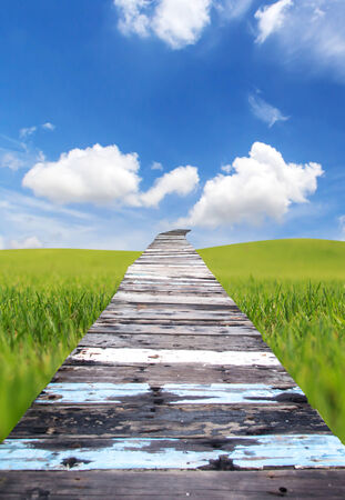 Wood bridge on Green grass and Blue sky photo