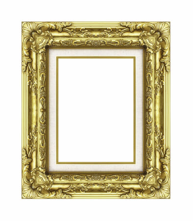 Vintage golden frame with blank space, with clipping path photo