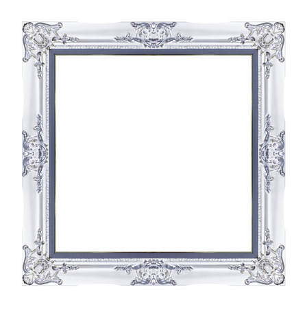 Vintage white frame with blank space, with clipping path. photo