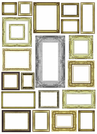 set of vintage golden frame with blank space Stock Photo - 26744458