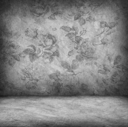 Concrete wall and floor texture with rose wallpaper , Grunge design photo
