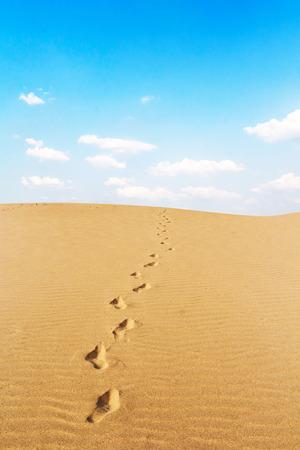 Footprints on desert Stockfoto