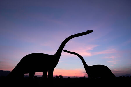 the silhouettes of dinosaurs photo