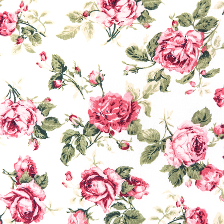 Red Rose Fabric background, Fragment of colorful retro tapestry textile pattern with floral ornament useful as background. photo