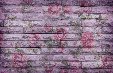 sand stone wall Background of decorate, Concrete wall and floor texture with rose wallpaper , Grunge design Stock Photo - 27416918