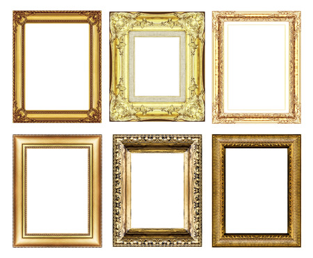 set of vintage golden frame with blank space   photo
