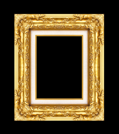 Vintage golden frame with blank space, with clipping path, on black background. photo