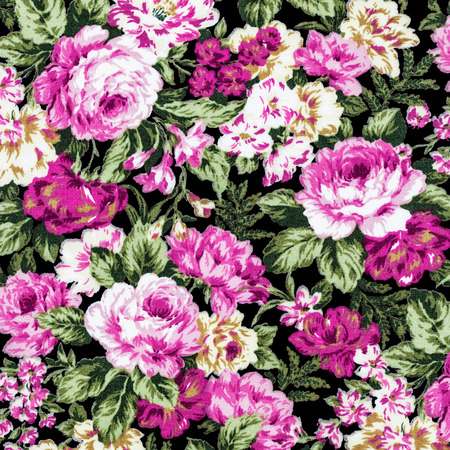 material flower: pink rose on black fabric background, Fragment of colorful retro tapestry textile pattern with floral ornament useful as background.