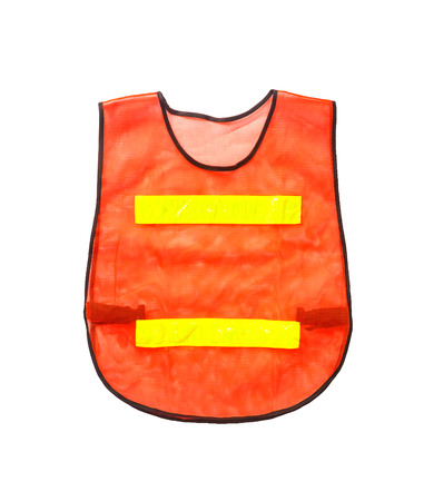 Orange vest, isolated on white and clipping path photo
