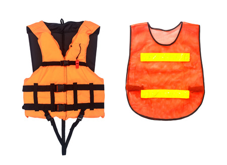Orange Life Jacket  and Orange vest  isolated on white, clipping path  photo