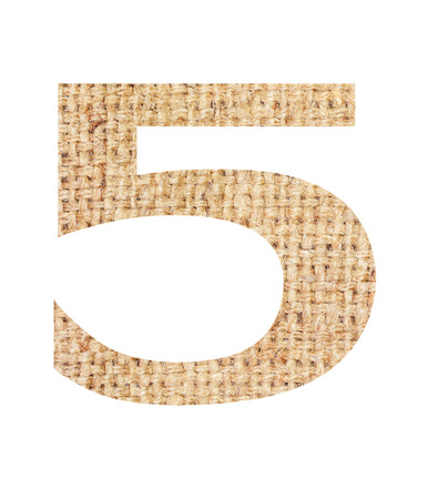 Number 5 made from sackcloth brown isolated on white background and clipping path. Stock Photo