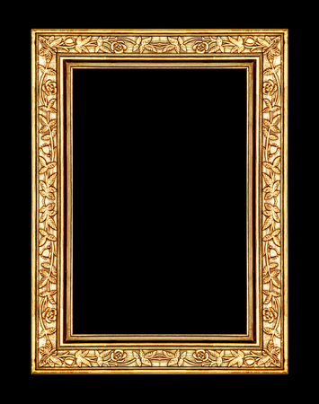 vintage rose gold frame isolated on black background, with clipping path photo