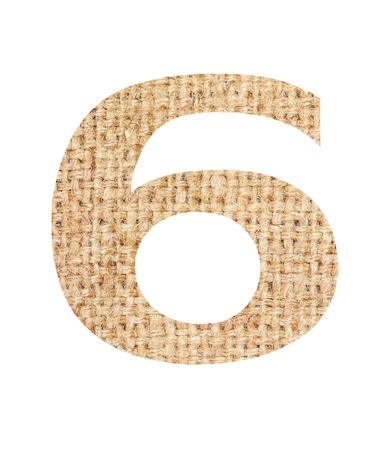 Number 6 made from sackcloth brown isolated on white background and clipping path. Stock Photo