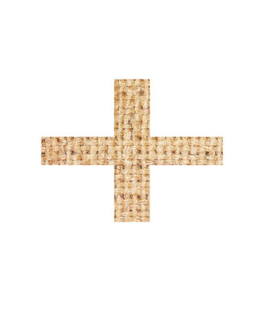 Signs Mathematics made from sackcloth brown isolated on white background and clipping path.