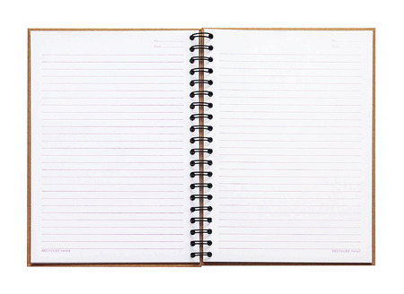 Opened recycle note book on white background, clipping path