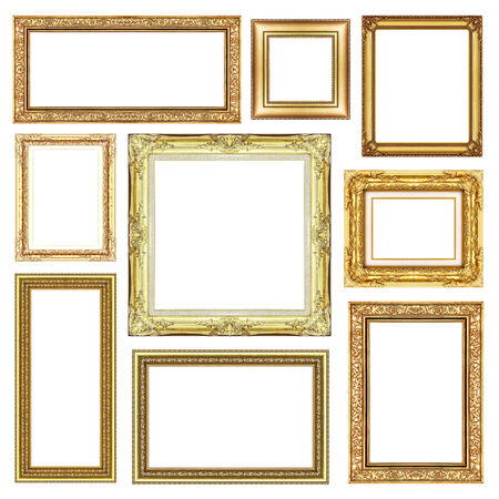 set of Vintage golden frame with blank space, clipping path photo