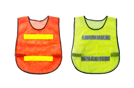Orange and Green vest, isolated on white and clipping path photo