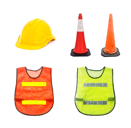 warning vest: Yellow safety helmet , Traffic cone - barricade warning cones , Orange and Green , isolated on white ,Set of safety.
