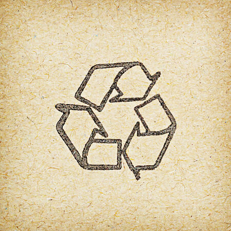 recycle logo: recycle logo on recycled paper background.