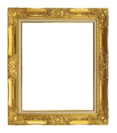 gold picture frame: antique golden frame isolated on white background, clipping path