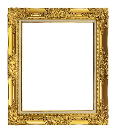 Marco antiguo de oro aislado en el fondo blanco, camino de recortes Foto de archivo - 33223940