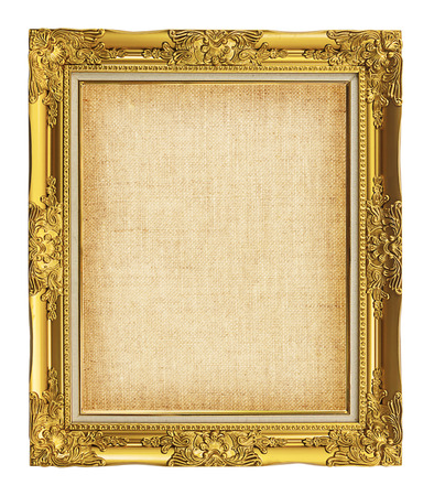 old golden frame with empty grunge linen canvas for your picture, photo, image. beautiful vintage background photo