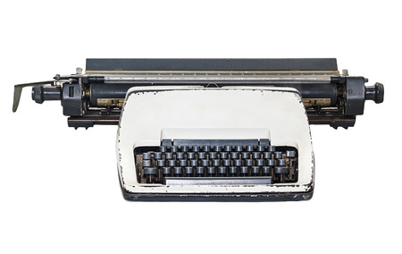 vintage  type writer, Old Thai Land type writer isolated on white , clipping path. photo