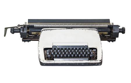 vintage  type writer, Old Thai Land type writer isolated on white , clipping path. photo