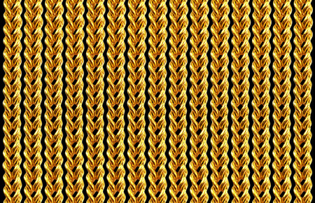 Gold chain necklace isolated on black, closeup , for background photo