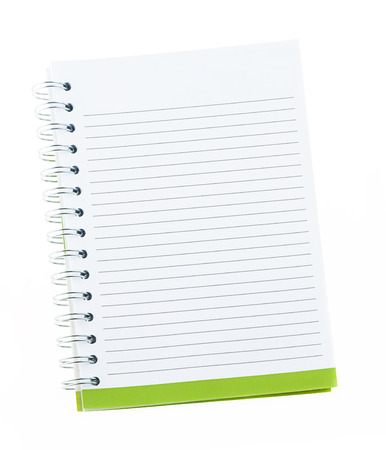 Blank note book with ring binder holes isolated on white 版權商用圖片