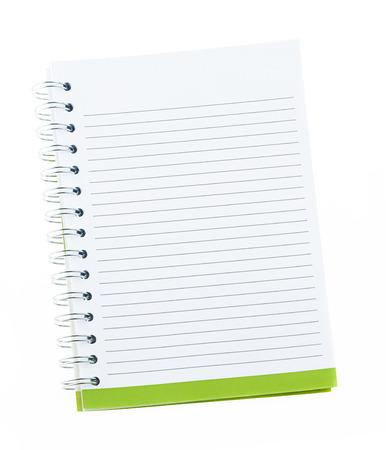 Lege nota boek met ringband gaten geïsoleerd op wit Stockfoto