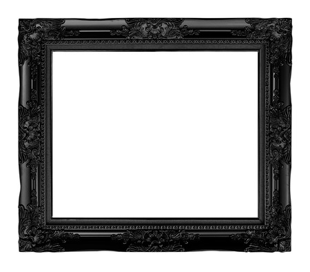 silver frame: antique black  frame isolated on white background, clipping path.