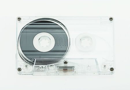 dubbing: audio cassette on white background