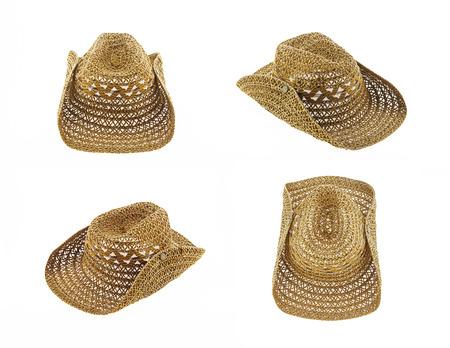 hat isolated on white background, cowboy hat set 4 photo
