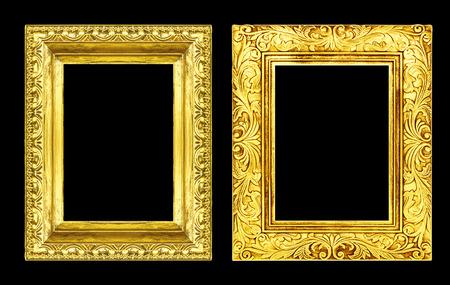 クリッピング パス、黒の背景に分離 2 アンティーク ゴールデン フレームを設定します。 写真素材 - 35088067